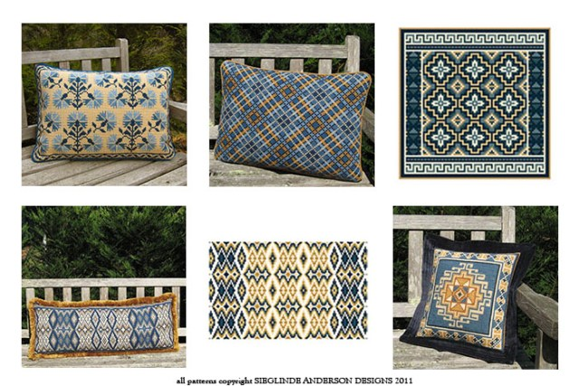 blue & sand pillows in the cross-point Collection