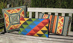 NEW Triangles, shown here with Tabriz companion pillows