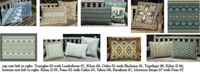 teals, sea greens, bronze in companion pillows