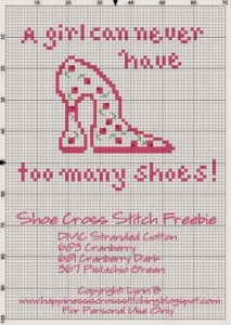Pink cross stitch shoe-002