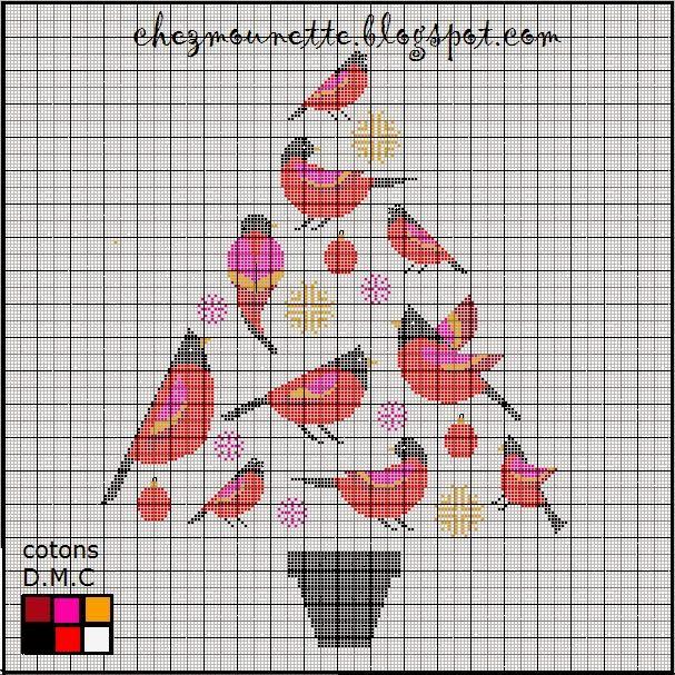 Cardinal Christmas Tree Cross Stitch
