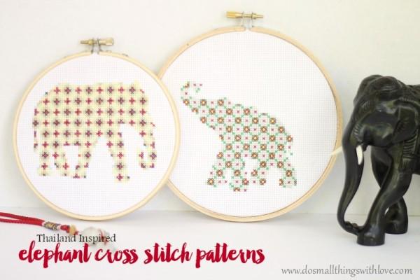 Thailand-inspired-elephant-cross-stitch-patterns