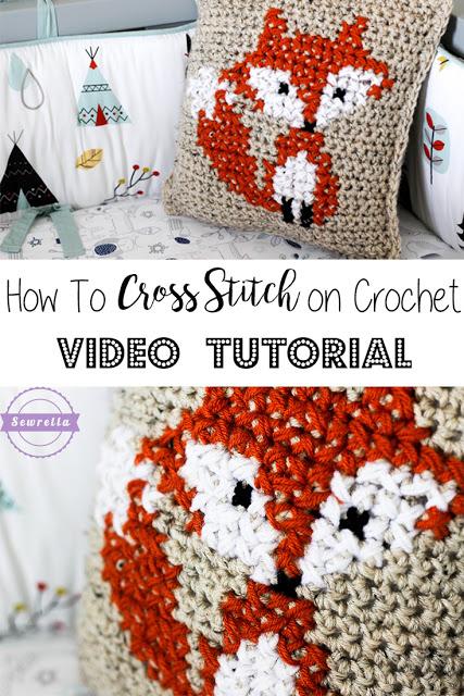 How to cross stitch on crochet.
