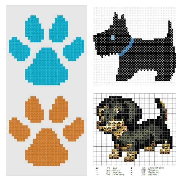 Dog cross stitch charts