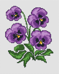 violets cross stitch chart