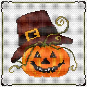 Halloween pumpkin in a pilgrim hat cross stitch pattern.