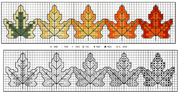 Changing leaves cross stitch bookmark pattern