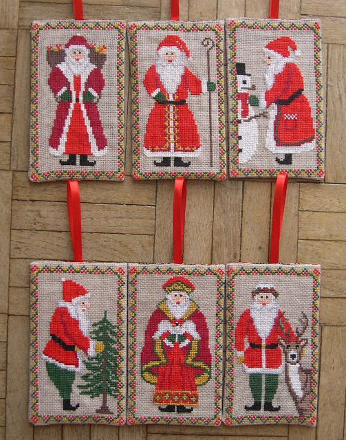 Six Santas cross stitch charts