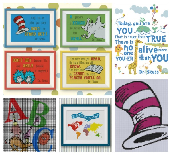 Dr. Seuss cross stitch patterns to celebrate Read Across America Day.