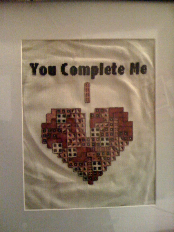 Tetris cross stitch valentine.