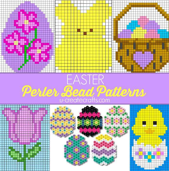 Easy Easter Perler bead patterns to use for cross stitch.