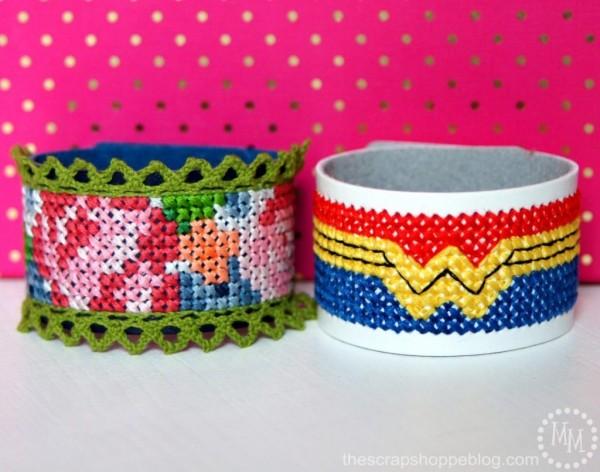 Cross Stitch Leather Cuff Bracelets