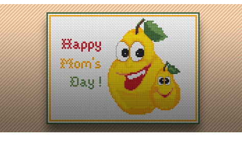 Mother's Day pears cross stitch pattern