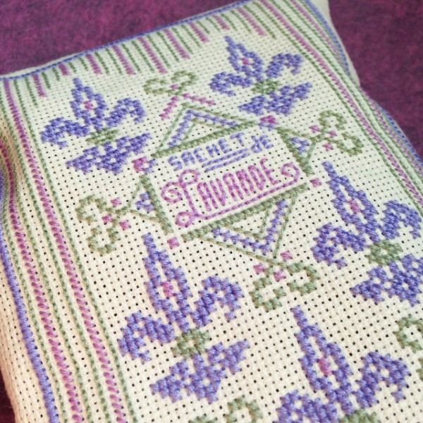 cross stitched lavender sachet