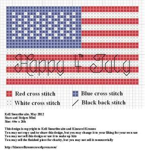 stars and stripes mini cross stitch pattern