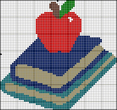 schoolbooks and apple cross stitch