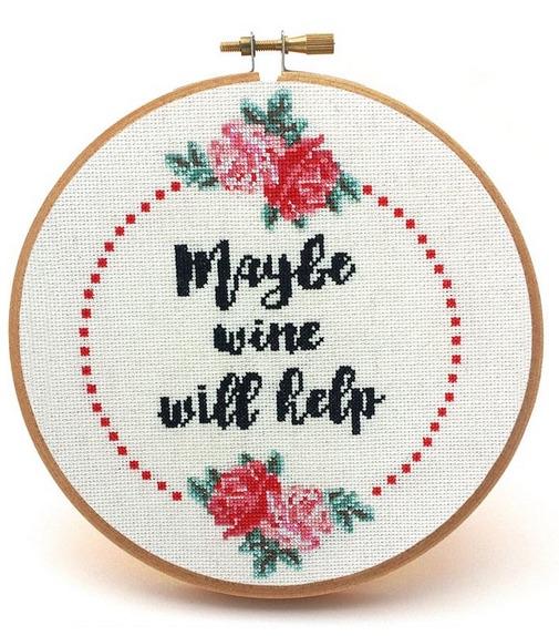 maybe wine will help cross stitch