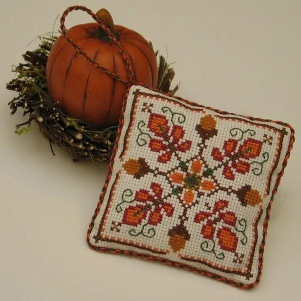 acorn medallion cross stitch pattern for fall
