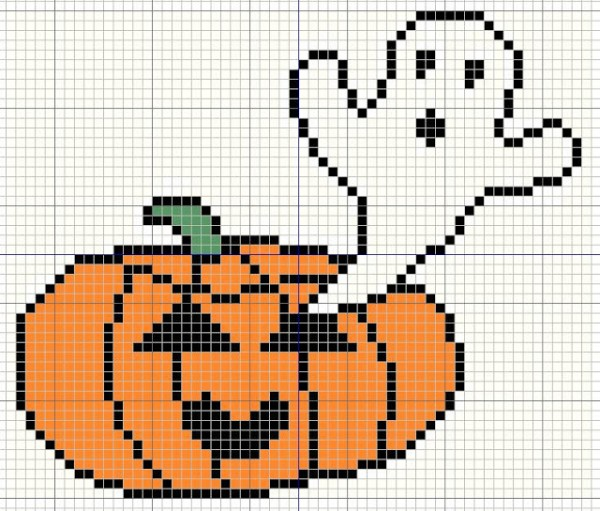 ghost coming out of a pumpkin cross stitch