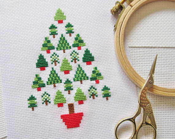 Stitch a Christmas Tree Made of Christmas Trees