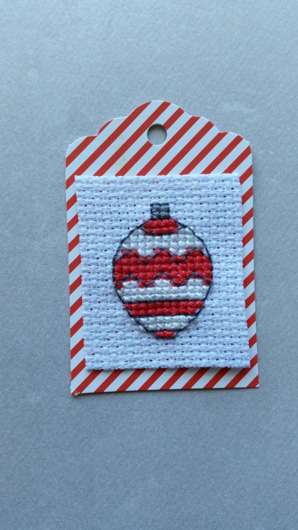 how to make cross-stitched gift tags