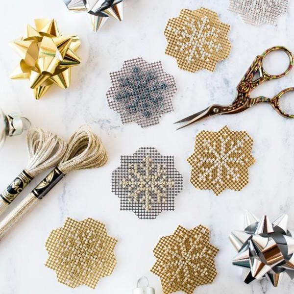 cross stitch metallic snowflakes