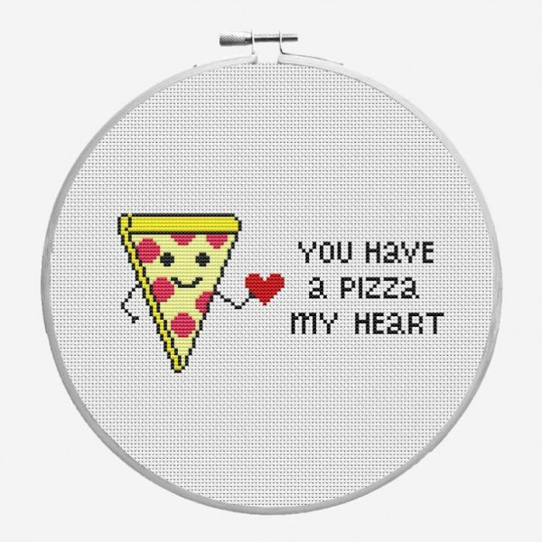 pizza my heart cross stitch pattern
