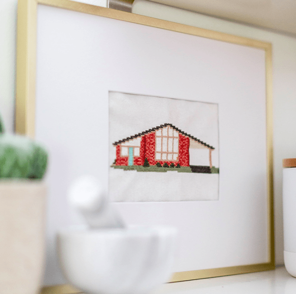DIY cross stitched house