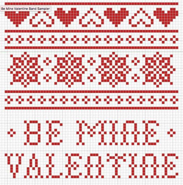 valentine band cross stitch pattern