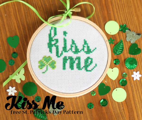 Kiss Me Cross Stitch for St. Patrick's Day