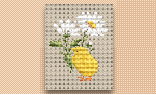Stitch a Chick and Flower for Spring
