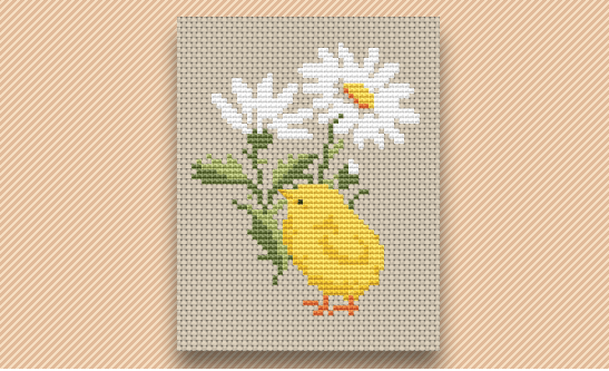 chick and flower cross stitch pattern