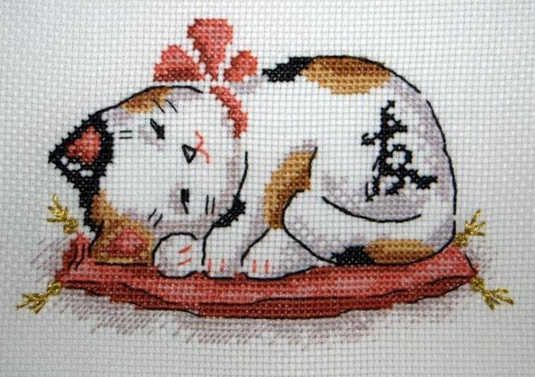 prosperity cat cross stitch