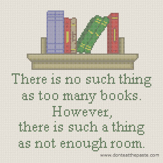 too many books cross stitch