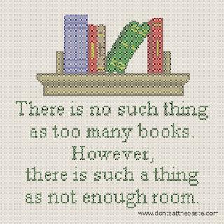 too many books cross stitch