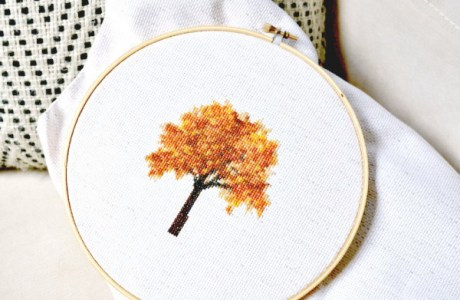 A Fall Tree to Stitch, and a Tutorial on Making Your Own Patterns