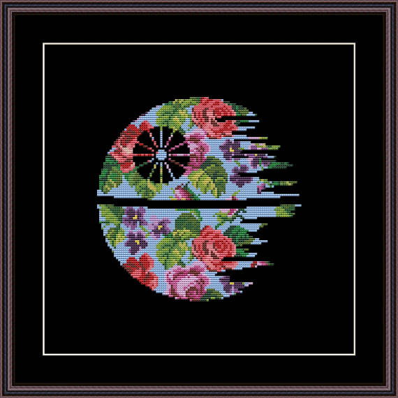floral death star cross stitch