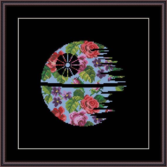 floral death star cross stitch