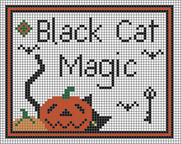black cat magic cross stitch pattern