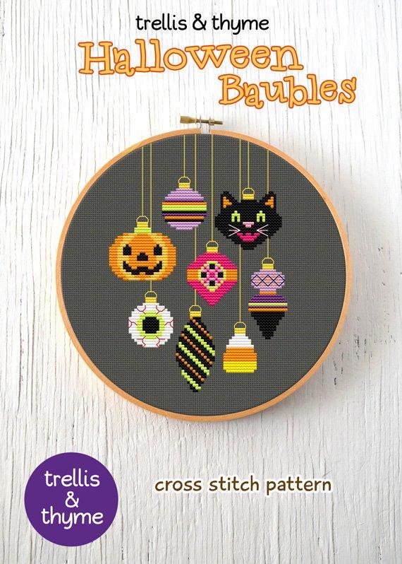 halloween baubles cross stitch