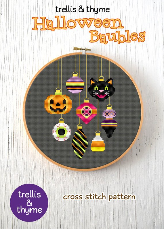 halloween baubles cross stitch
