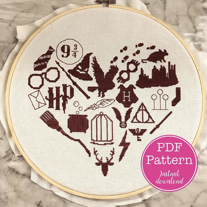 harry potter cross stitch heart
