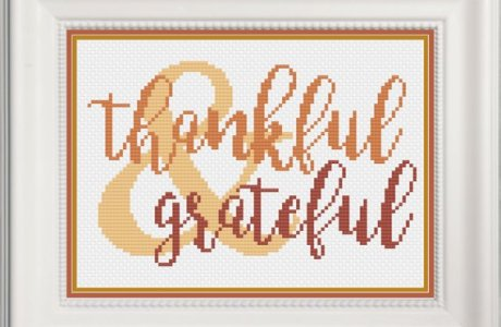 Thankful Word Art Cross Stitch Pattern