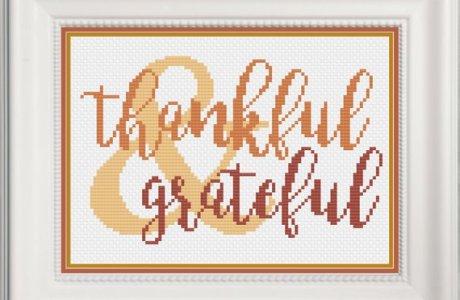 Thankful Word Art Cross Stitch Pattern