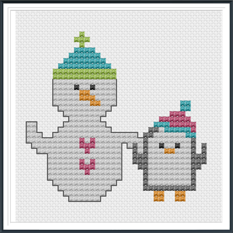 snowman and penguin cross stitch
