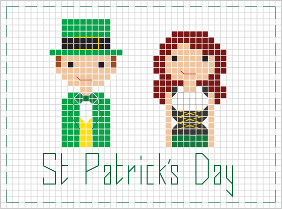 st. patrick's day people cross stitch
