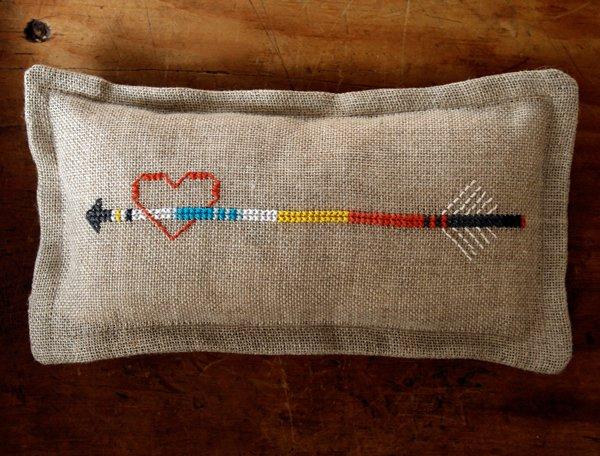 heart arrow stitched pincushion