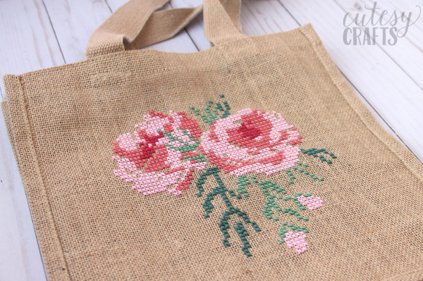 cross stitch on burlap bag