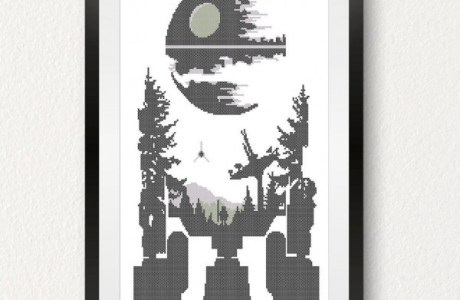 death star r2-d2 cross stitch