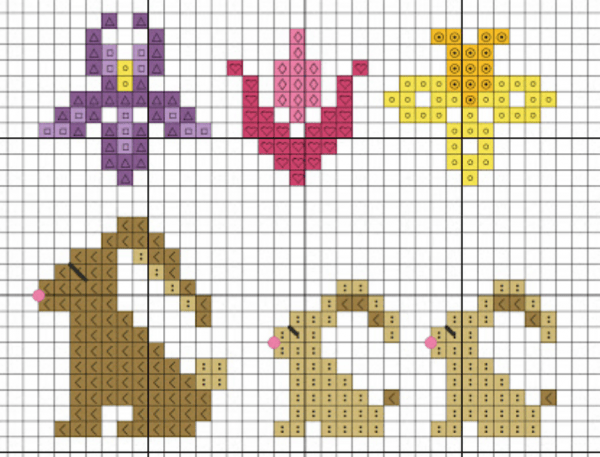 spring cross stitch minis